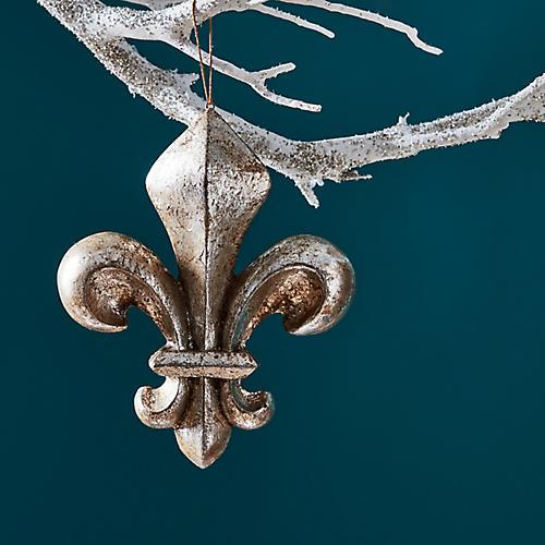 Fleur-de-Lis Ornament, Brushed Gold