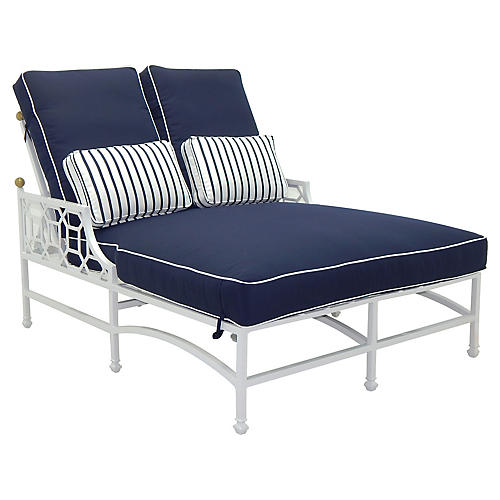 Barclay Outdoor Double Chaise, White/Navy