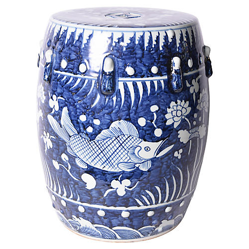 Fish Lotus Garden Stool, Blue/White
