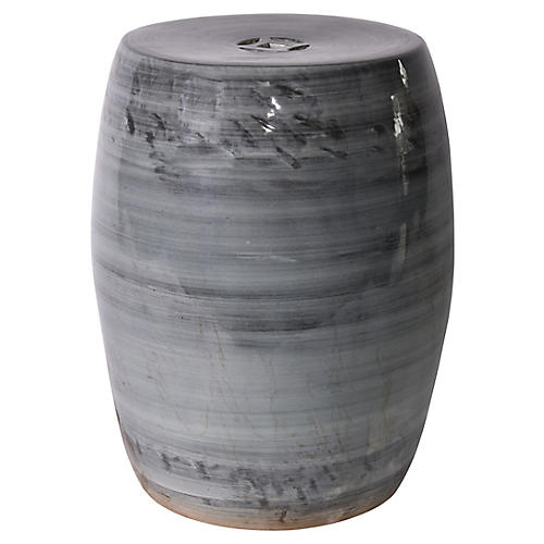 Denim Ombré Garden Stool, Gray