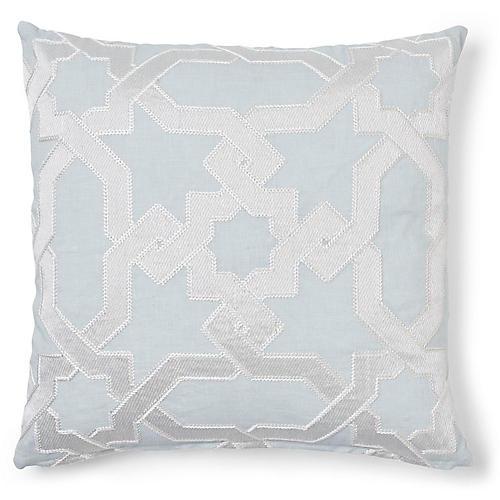 Cordoba 20x20 Embroidered Pillow, Mist Linen