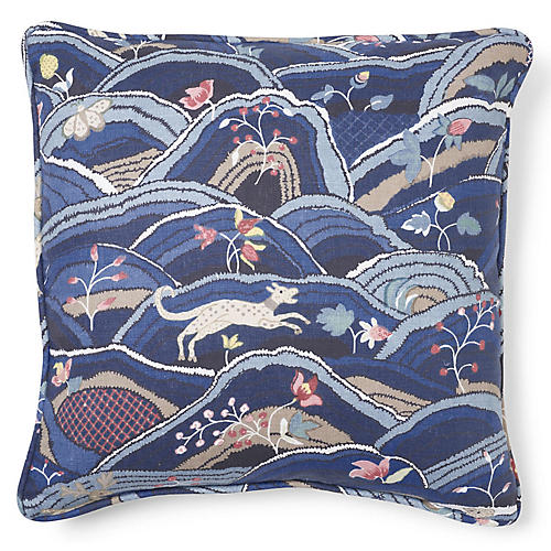 Rolling Hills 20x20 Pillow, Blue/Multi Linen