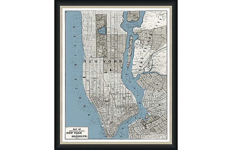 1873 Map of Manhattan & Brooklyn