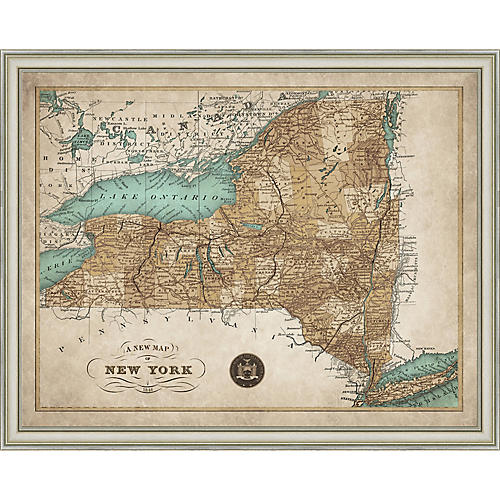 1846 Map of New York State , Silver