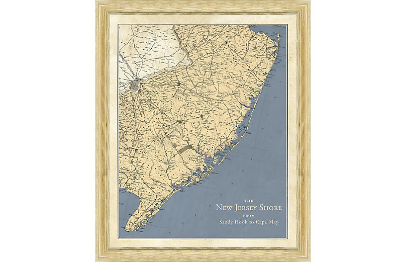 Vintage Map of the New Jersey Shore
