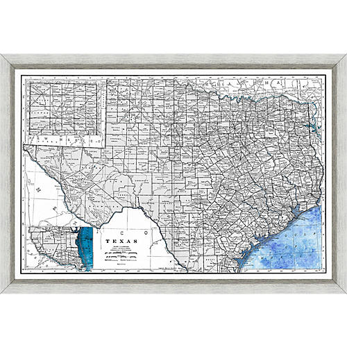 Historic Map of Texas , Silver