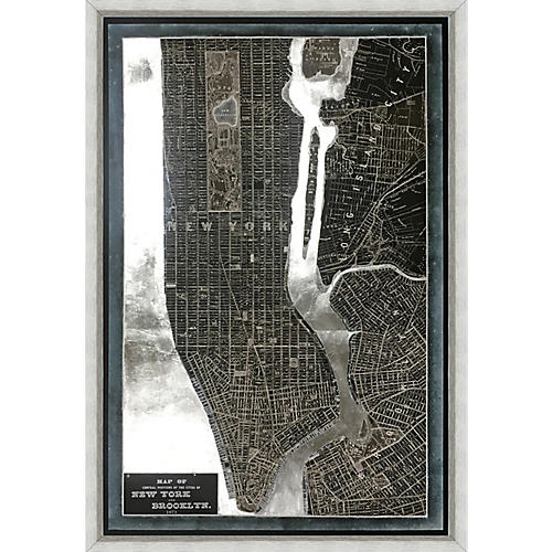 Silver-Leaf Map of New York , Silver