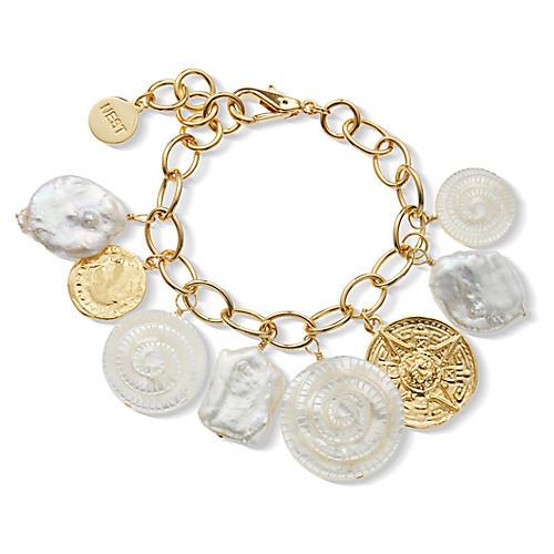 22-Kt Pearl & Coin Charm Bracelet