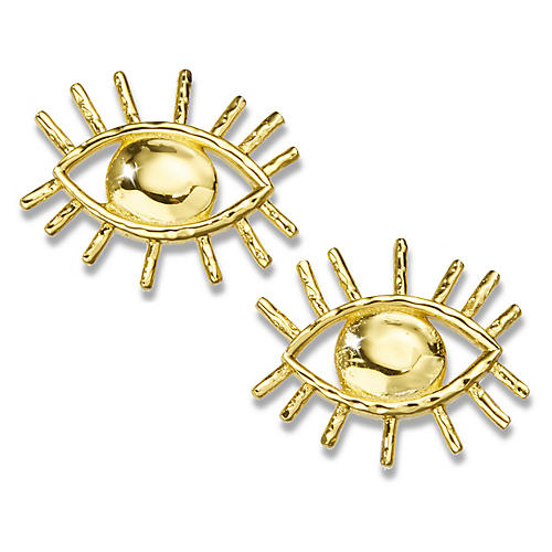 22-Kt Evil Eye Stud Earrings