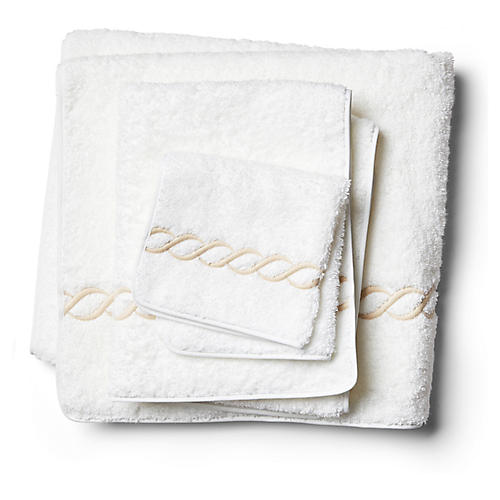3-Pc Classic Chain Towel Set, Champagne