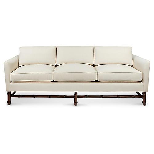 Bamboo Sofa, Natural Linen