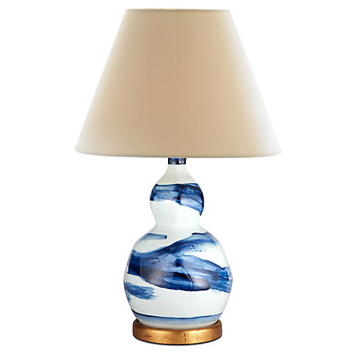 Brush Stroke Small Lamp, Blue And White