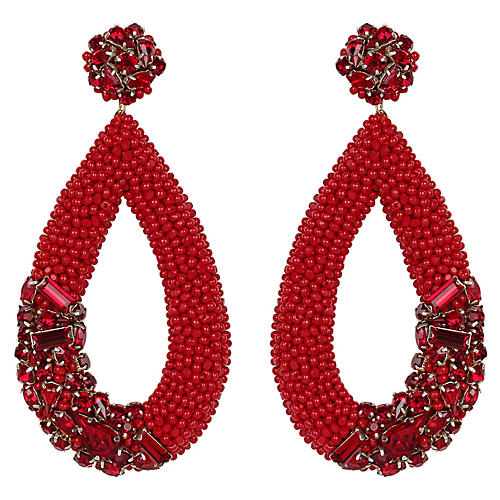 Jenna Earrings, Maroon
