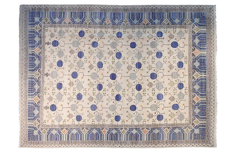 12'x15' Sari Khotan Hand-Knotted Rug, Ivory/Blue