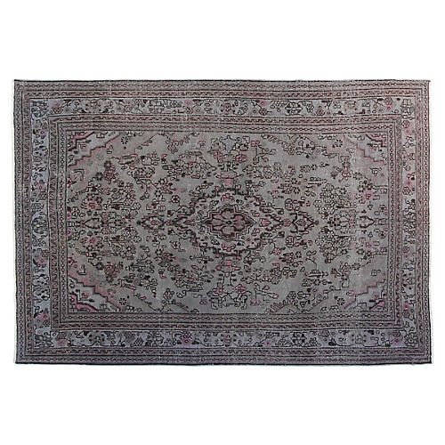 7'x10' Melanie Hand-Knotted Rug, Gray/Pink