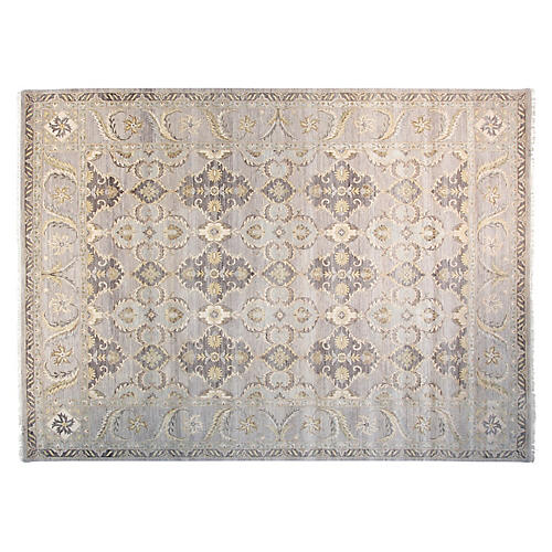 9'x12' Sari Oushak Hand-Knotted Rug, Gray/Flax