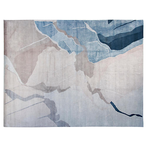 9'x12' Jonah Hand-Knotted Rug, Gray/Teal