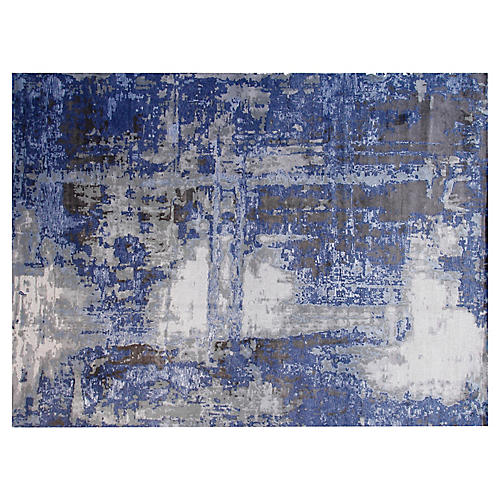 9'x12' Gurney Hand-Knotted Rug, Gray/Blue