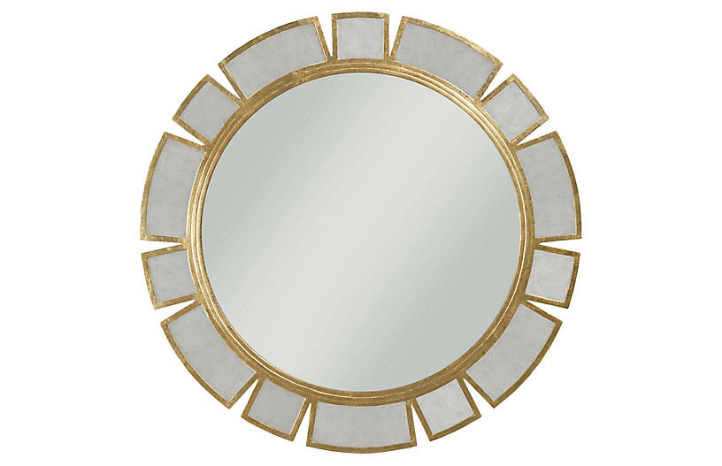Bouvette Round Wall Mirror, Antiqued Gold