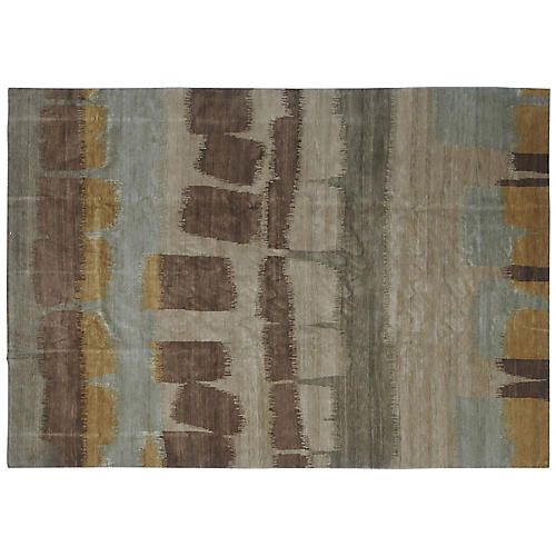 8'x10' Janko Hand-Knotted Rug, Chocolate/Multi