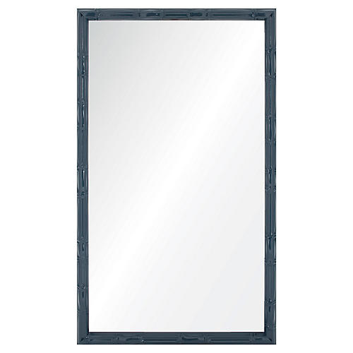 Bambu Wall Mirror, Navy Lacquer