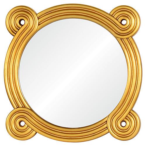 OHM Wall Mirror, Distressed Gold Leaf