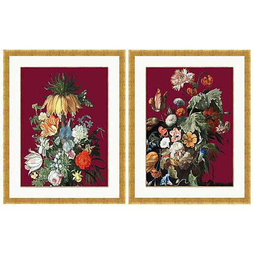 Lillian August, Floral Still Life Maroon Set
