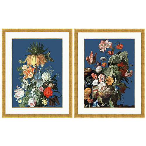 Lillian August, Floral Still Life Navy Set