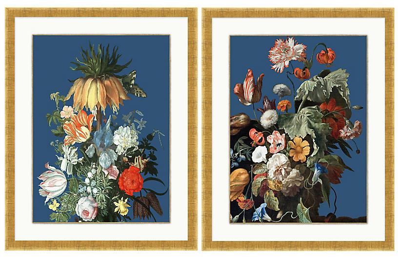 Lillian August, Floral Still Life Navy Set