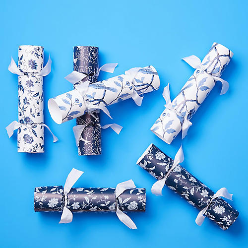 S/6 Party Crackers, Blue/White