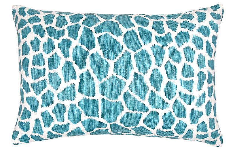 Hank 14x20 Lumbar Pillow, Aqua Linen