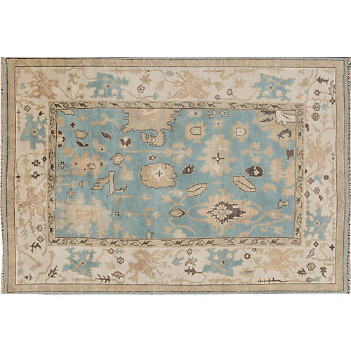 "6'1""x8'10"" Albin Hand-Knotted Rug, Blue/Beige"