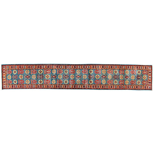 "2'9""x16'6"" Andris Hand-Knotted Runner, Blue/Red"