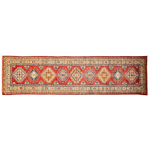 "2'6""x9'7"" Talin Hand-Knotted Runner, Red"