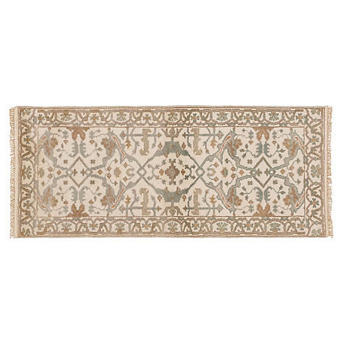 "2'6""x6' Bishan Hand-Knotted Runner, Ivory"