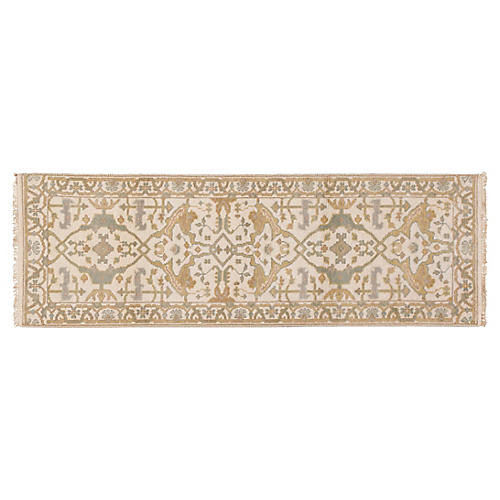 "2'7""x7'10"" Florus Hand-Knotted Runner, Ivory"