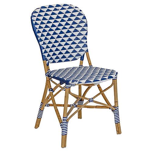 Pinnacles Side Chair, White/Navy