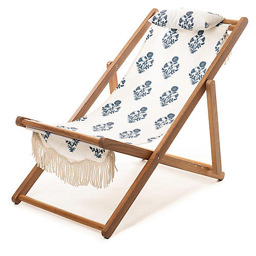 Luna Sling Beach Chair, Blue/White