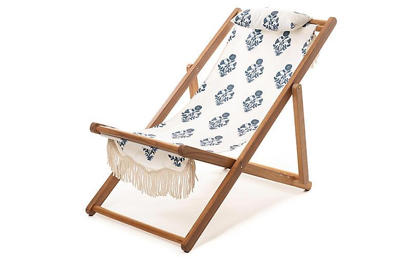 Luna Sling Beach Chair, Blue/White