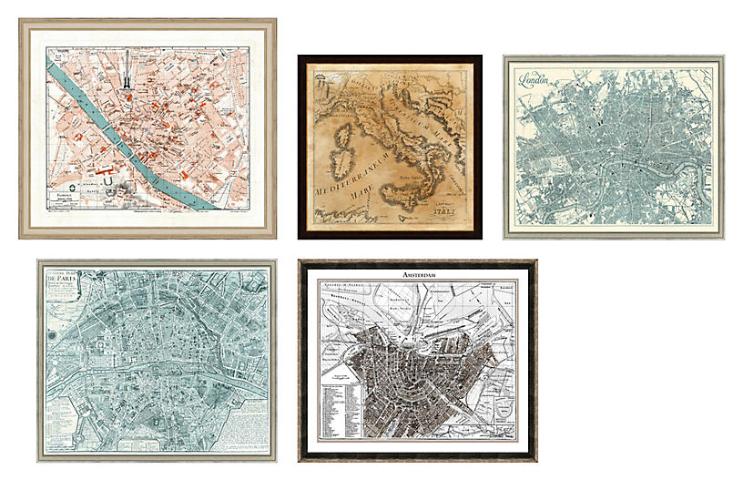 5-Pc European Cities Gallery Wall, Gray