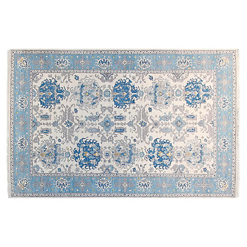"""5'6""""x8'6"""" Michelle Hand-Knotted Rug, Ivory/Aqua"""