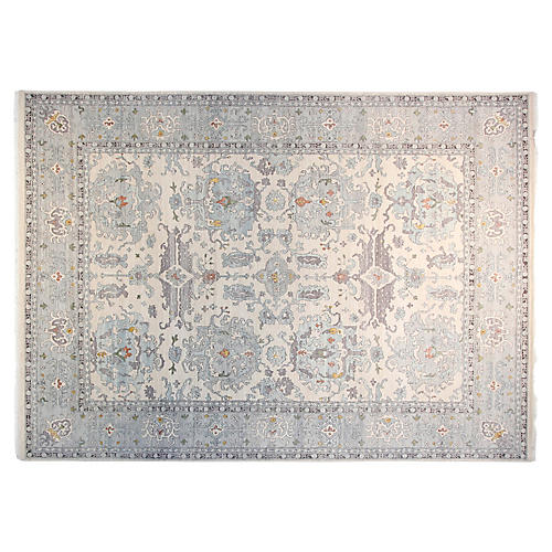 8'x10' Oushak Hand-Knotted Rug, Ivory/Steel