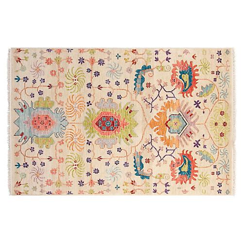 4'x6' Sari Liam Hand-Knotted Rug, Ivory/Pear