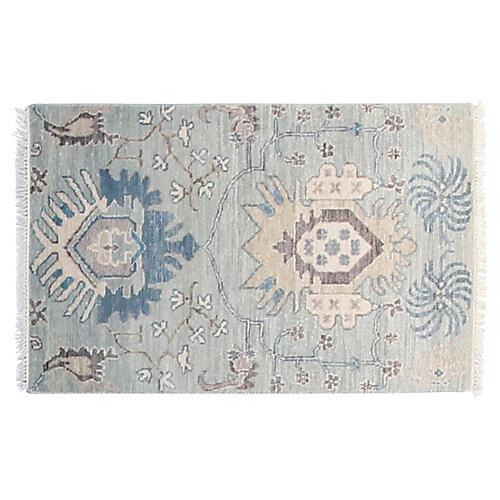 2'x3' Sari Liam Hand-Knotted Rug, Light Blue/Ivory