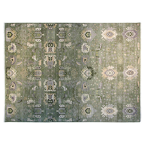 9'x12' Sari Liam Hand-Knotted Rug, Light Green