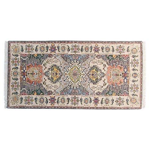 2'x4' Circa Hand-Knotted Rug, Gray/Ivory
