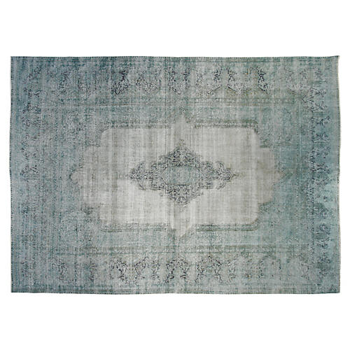 "9'6""x12'6"" Jonas Hand-Knotted Rug, Light Aqua"
