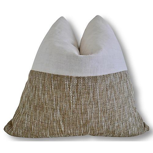 Lynn 24x24 Pillow, Natural/White/Sesame
