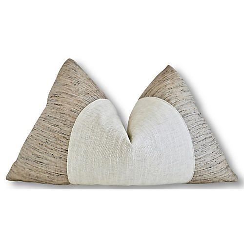 Shana 25x16 Lumbar Pillow, Natural/White