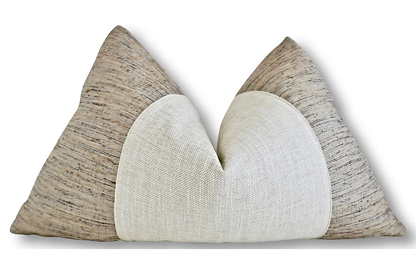 Shana 25x16 Lumbar Pillow, Natural/White